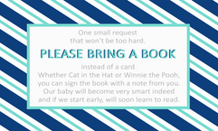 Whale Baby Shower Book Note