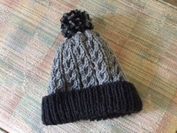 Grey and Black Knit Hat
