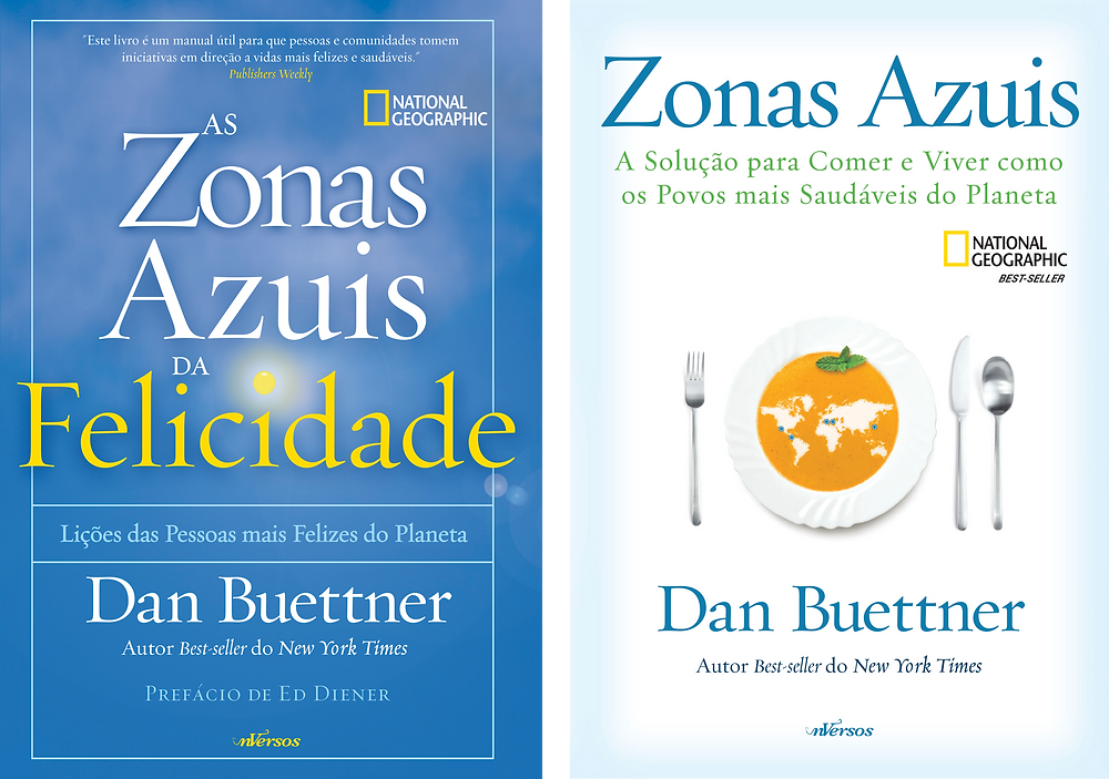 "Livros ""Zonas Azuis da Felicidade"" e ""Zonas Azuis""."