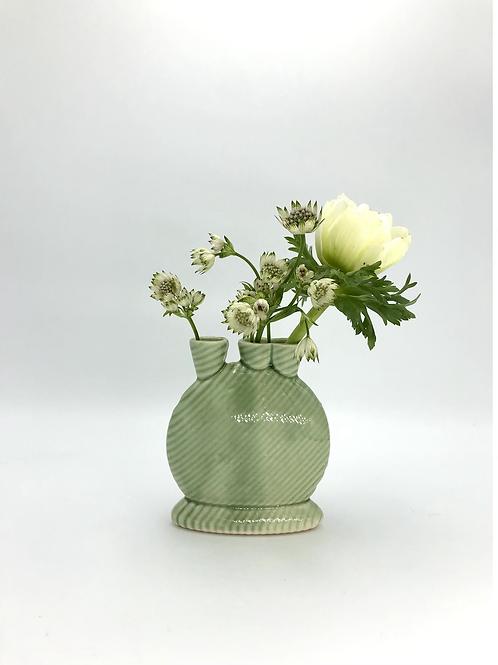 Mini Snorks Bud Vase with Diagonal Texture in True Celadon