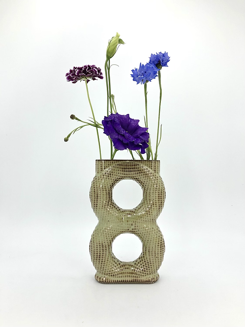 Meegosh Vase with Dimple Texture in Green Shino over Speckle