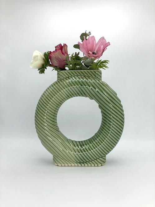 Falkor Vase with Diagonal Texture in True Celadon