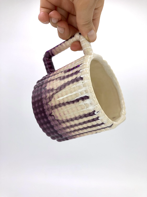 Gozer Mug with Dimple Texture in Pansy Drip