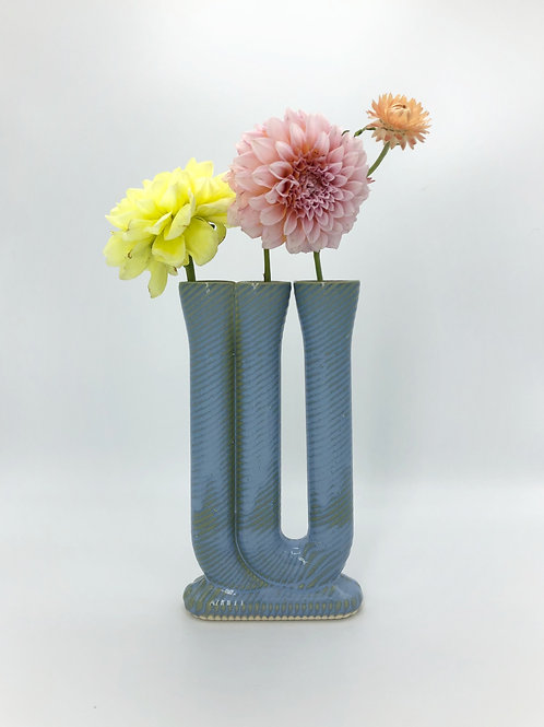 Shadowfax Vase with Diagonal Texture in Arctic Blue over Speckle
