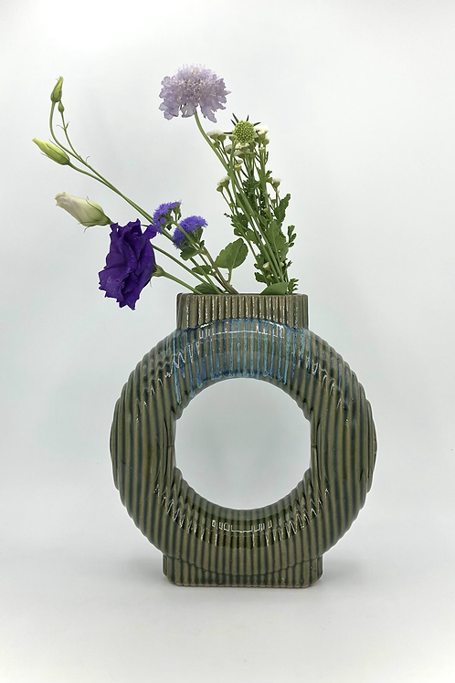 Falkor Vase with Vertical Texture in Green Flux over Speckle