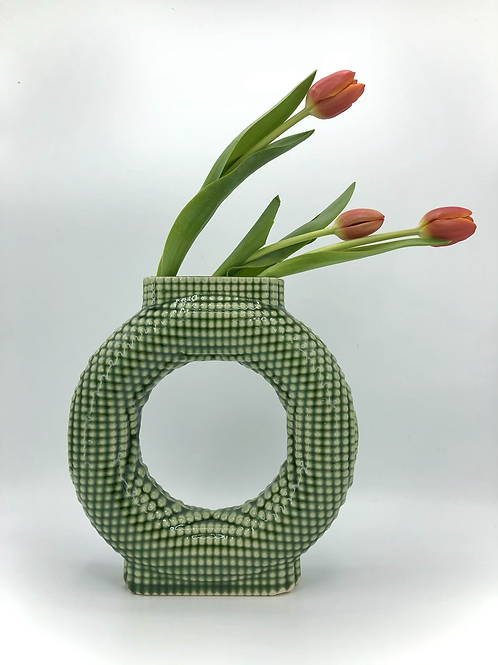 Falkor Vase with Dimple Texture in True Celadon