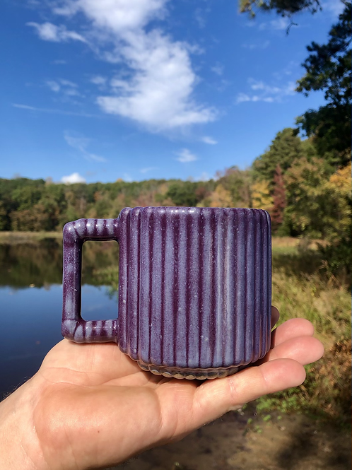 Gozer Mug with Vertical Stripes in Pansy Purple over Speckle