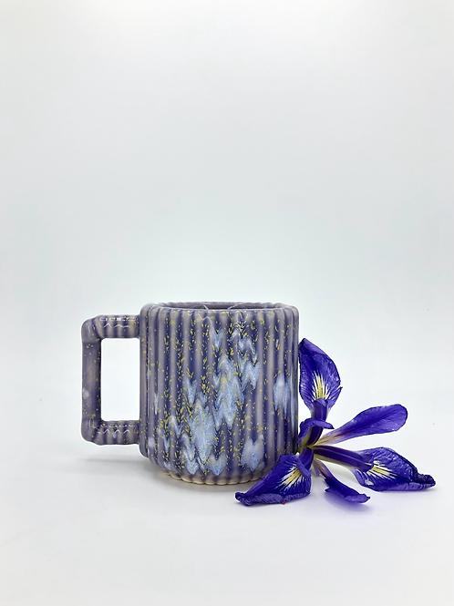 White Gozer Mug with Vertical Texture in Hydrangea Speckle