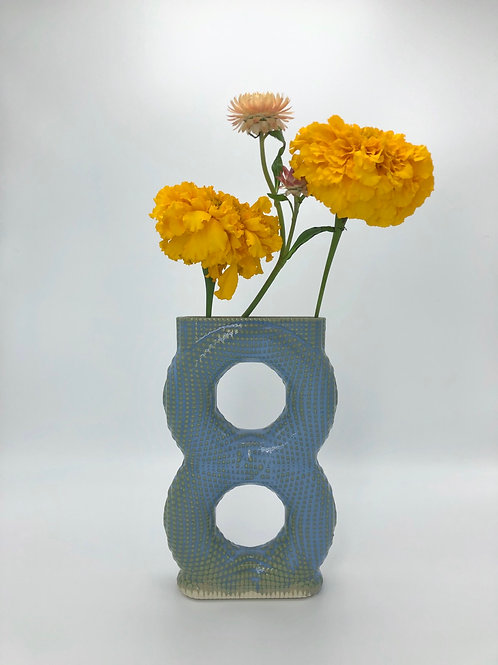 Meegosh Vase in Arctic Blue over Speckle