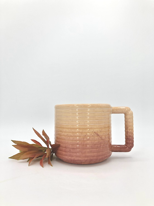 Gozer Mug with Horizontal Texture in Mauve Tangelo Fade