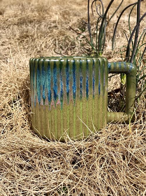 Gozer Mug with Vertical Stripes in Wasabi Flux over Speckle