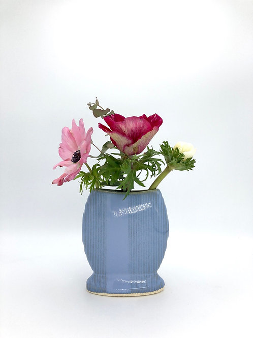 Sweetums Vase with Vertical Texture in Arctic Blue