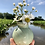 Thumbnail: Mini Bubble Bud Vase with Diagonal Texture in Green Shino on Speckle