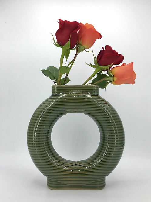 Falkor Vase with Horizontal Texture in True Celadon over speckle