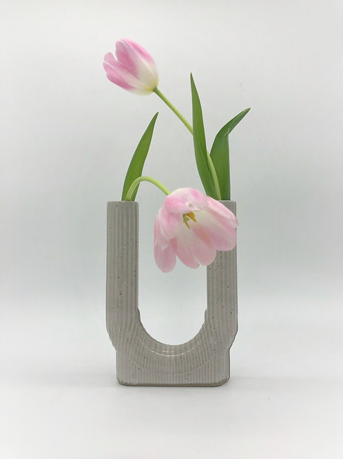 Lucky Vase with Vertical Texture in White over Speckle