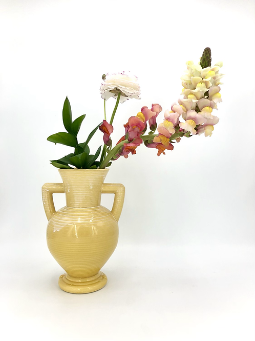 Peanut Vase with Horizontal Texture in Marigold