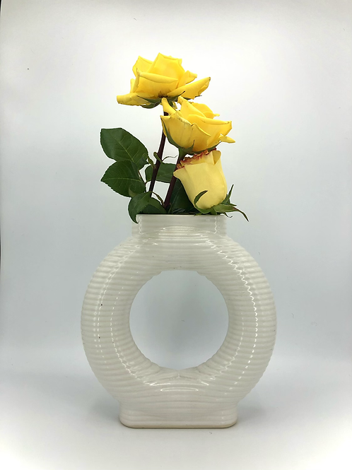 Falkor Vase with Horizontal Texture in White