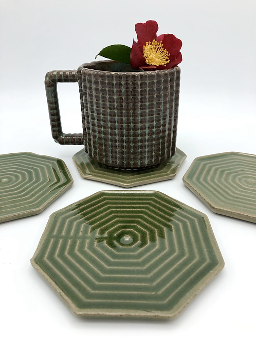 Orchid Station Coaster Set in True Celadon Over Speckle