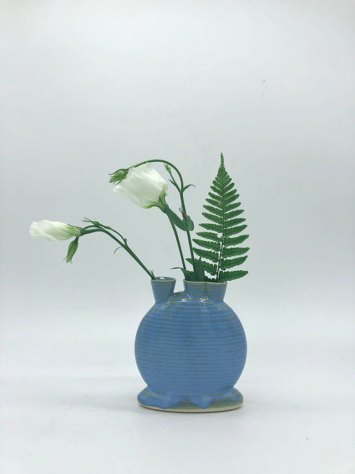 Mini Snorks Bud Vase with Horizontal Texture in Arctic Blue