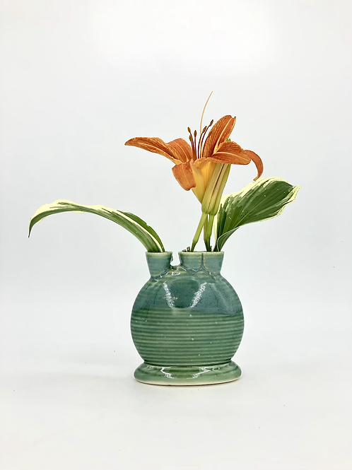 Mini Snorks Bud Vase with Horizontal Texture in Green Flux