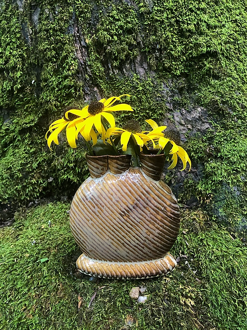 Mini Snorks Bud Vase with Diagonal Texture in Cappuccino
