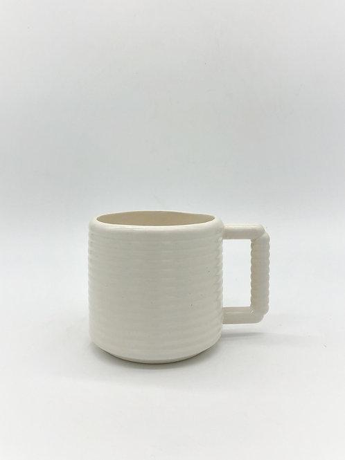 White Gozer Mug with Horizontal Texture in White
