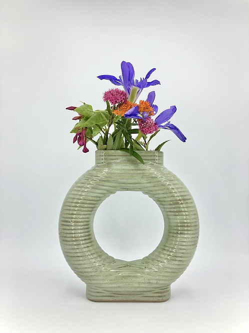 Falkor Vase with Horizontal Texture in Sage over Speckle