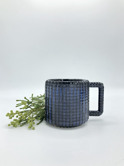 Gozer Mug with a Grid Dimple Texture in Midnight over Speckle