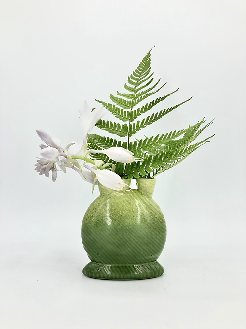 Mini Snorks Bud Vase with Horizontal Texture in Green Fade