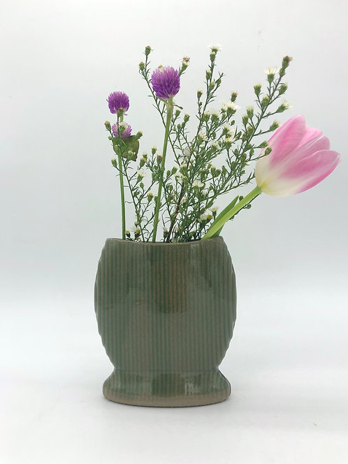 Sweetums Vase with Vertical Texture in True Celadon over Speckle