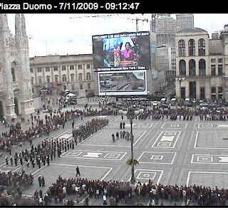 ... as official exhibition of city of Milan, Italy, with military parade