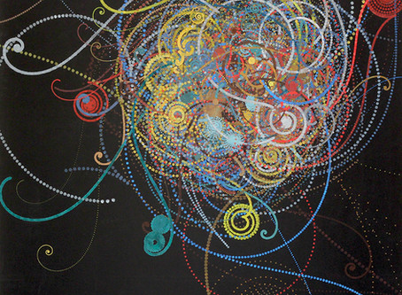 Carter Hodgkin: animation, painting based on atomic particle collisions