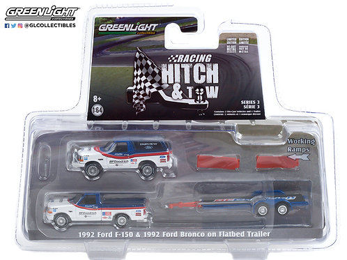 Greenlight Racing Hitch & Tow 3 1992 Ford F150 & Bronco with Flatbed Trailer