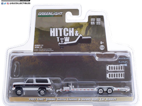 Greenlight Hitch & Tow 21 1983 GMC Jimmy Sierra with Car Trailer