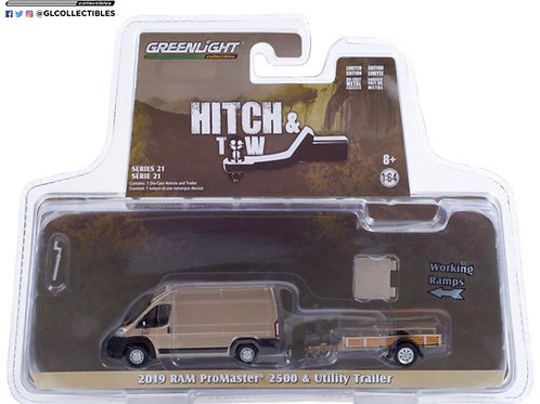Greenlight Hitch & Tow 21 2019 Dodge Ram Promaster 2500 with Utility Trailer