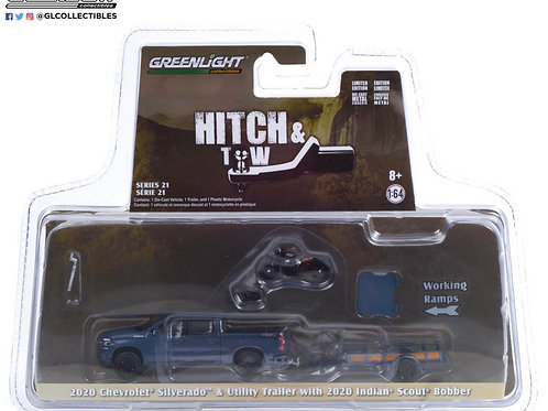 Greenlight Hitch & Tow 21 2020 Chevy Silverado with Trailer & Indian Motorcycle