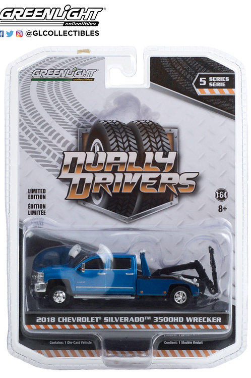 Greenlight Dually Drivers 5 2018 Chevy Silverado 3500HD Wrecker Tow Truck
