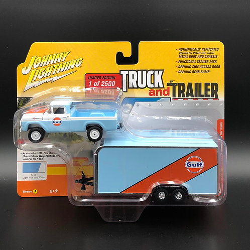 Johnny Lightning Truck and Trailer 1959 Ford F250 with Enclosed Car Trailer