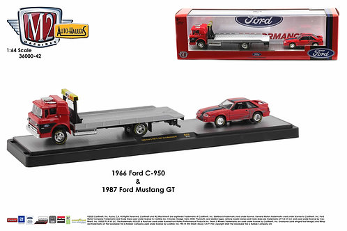 M2 Auto Hauler 42 1966 Ford C950 Car Hauler with 1987 Ford Mustang GT