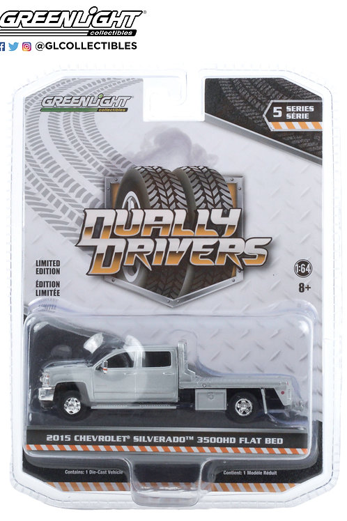Greenlight Dually Drivers 5 2015 Chevy Silverado 3500HD Flat Bed Truck