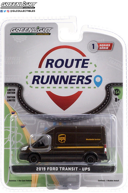 Greenlight Route Runners 1 2019 Ford Transit UPS Delivery