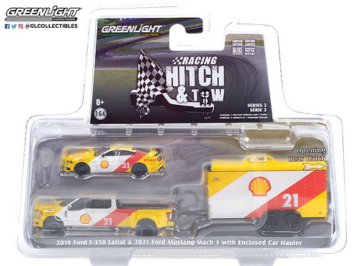 Greenlight Racing Hitch & Tow 3 2019 Ford F350 2021 Mustang Mach 1 with Trailer