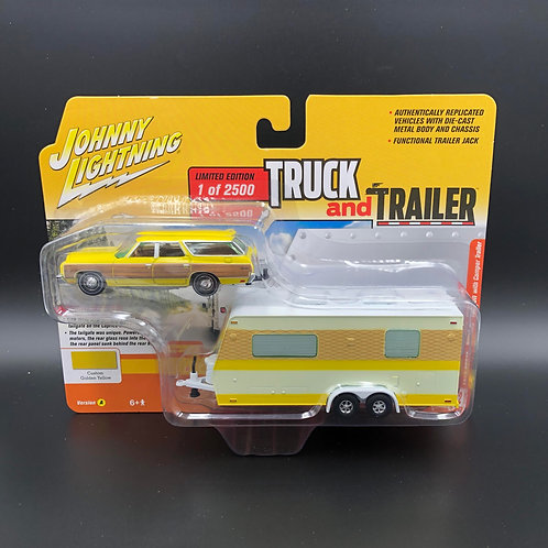 Johnny Lightning Truck and Trailer 1973 Chevy Caprice Wagon with Camper