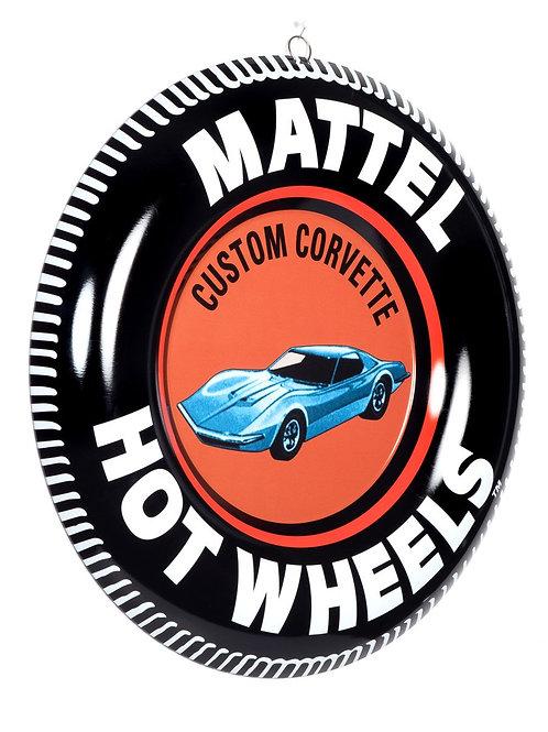 "Hot Wheels Metal Button 12"" Sign Custom Corvette"