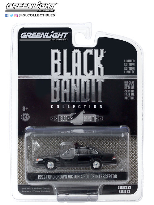 Greenlight Black Bandit 23 1992 Ford Crown Vic Police Interceptor