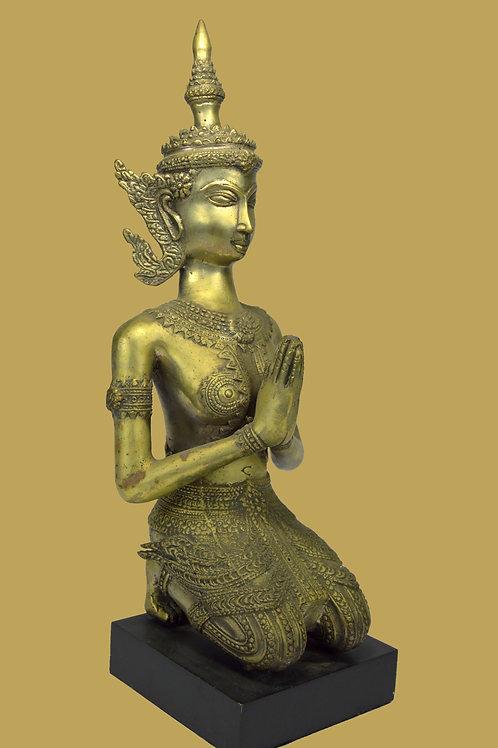 A Kneeling & Praying Woman Bronze Sculpture