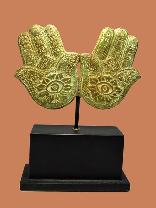 Pair of Hamsa Hands Bronze Sculpture