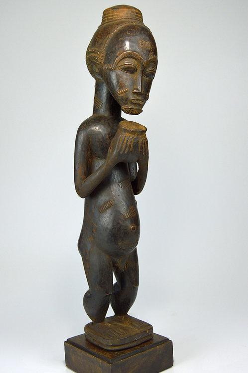 Handsome Old Baule Spirit Husband with Offering Bowl, Fine African Art