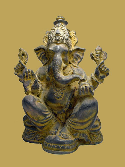 Serene Ganesha Clay Statue, Elephant Headed God, Son of Shiva, Temple Decor