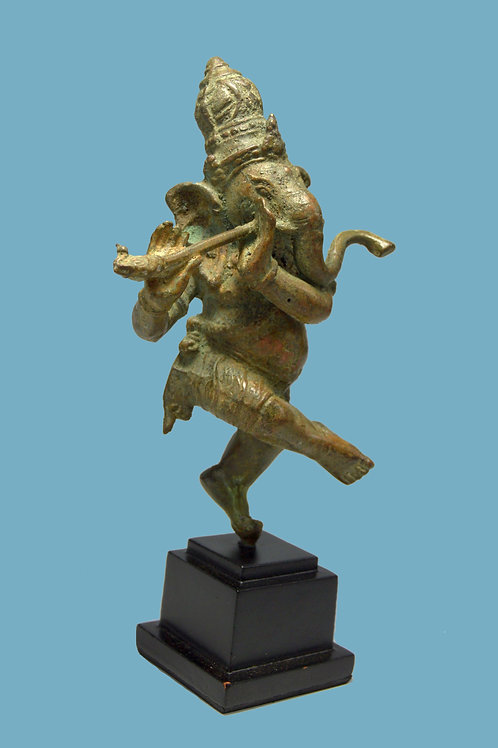 Ganesha Playing Flute Bronze Sculpture